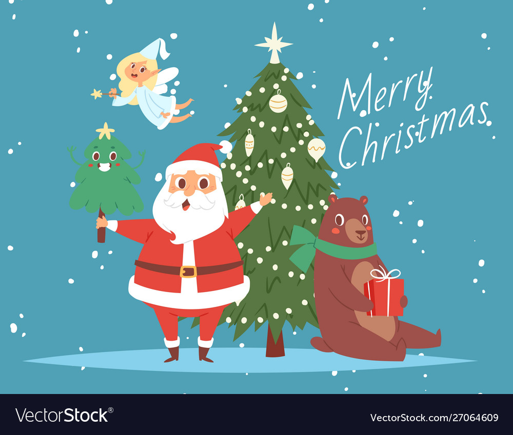 Santa claus and merry christmas tree bear and