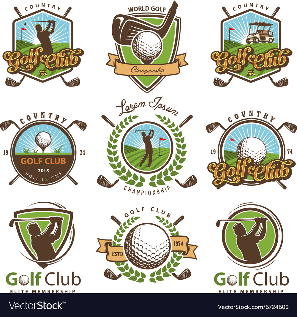 Set of vintage golf emblems
