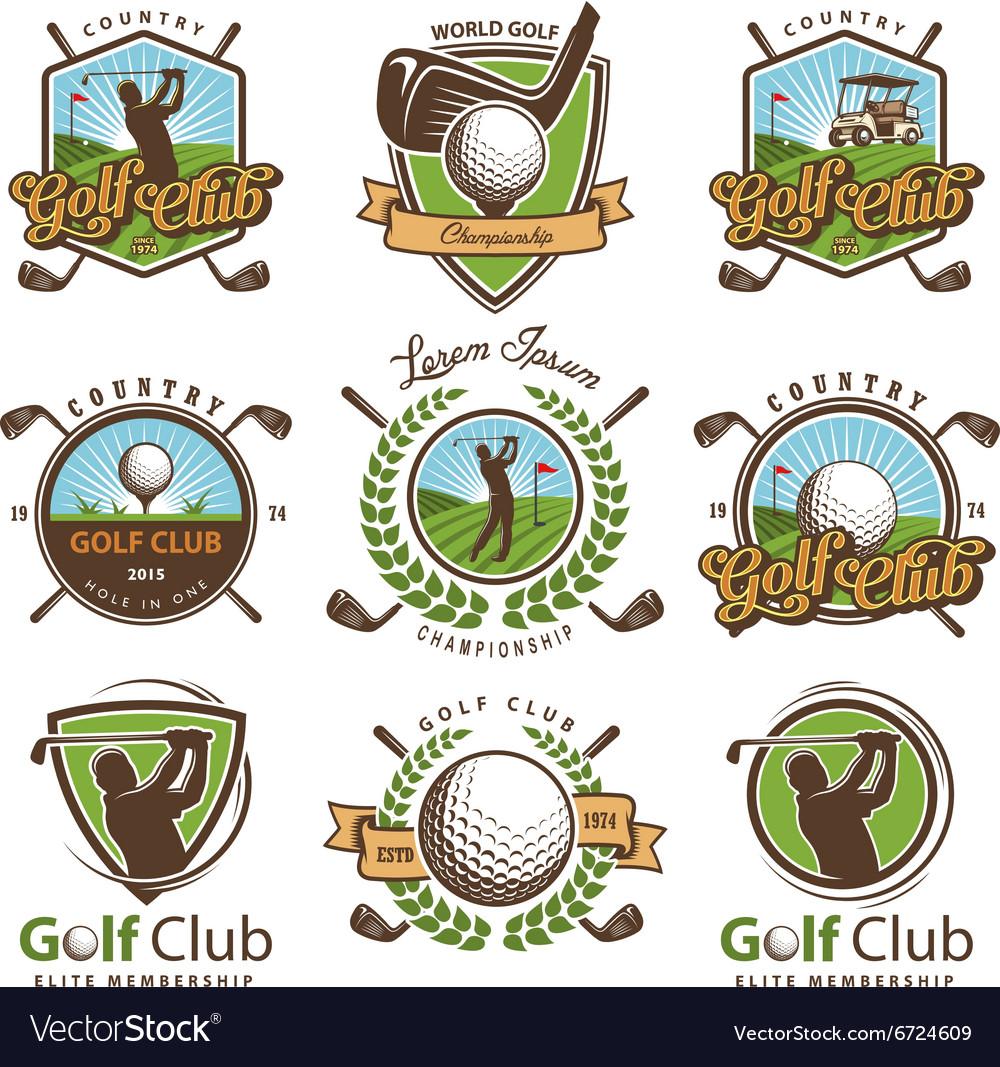 Set vintage golf emblems