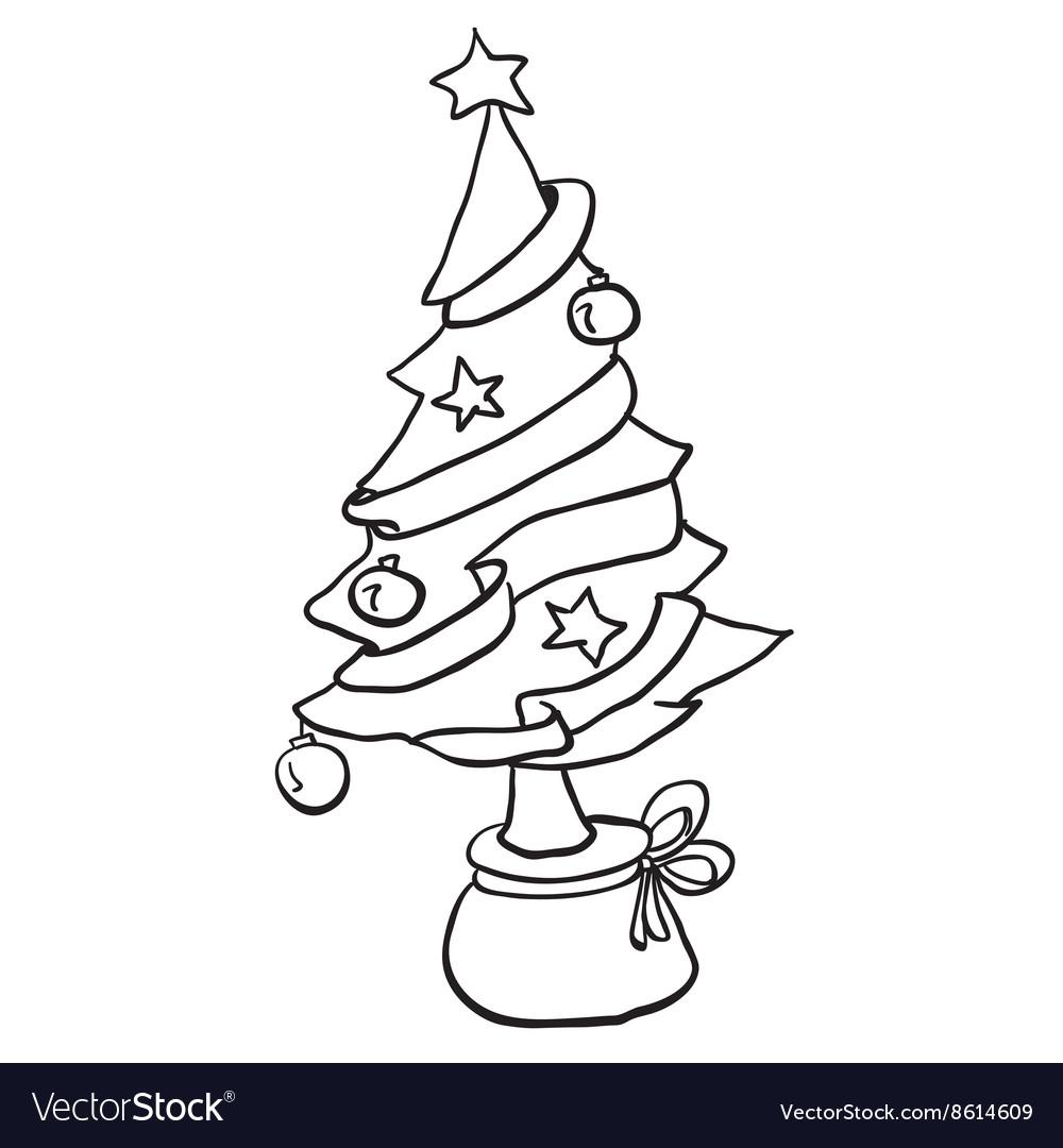 Simple Black And White Christmas Tree