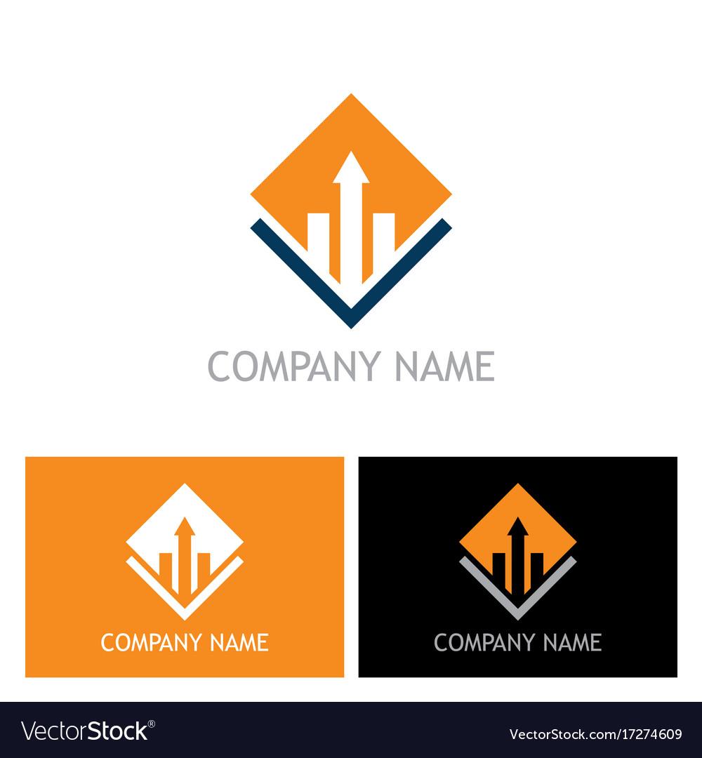 Square arrow business finance company logo vector image