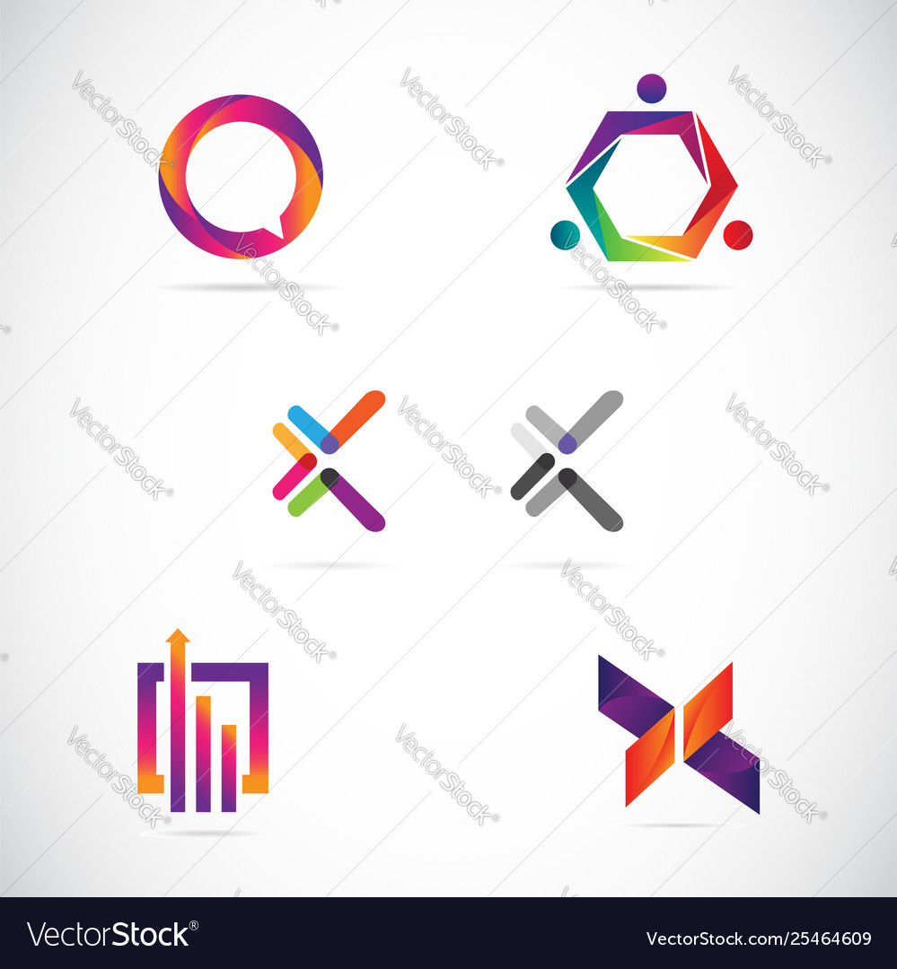 Web internet colorful logo design collection templ