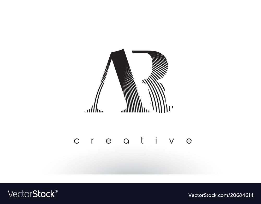 Ar logo design with multiple lines and black and