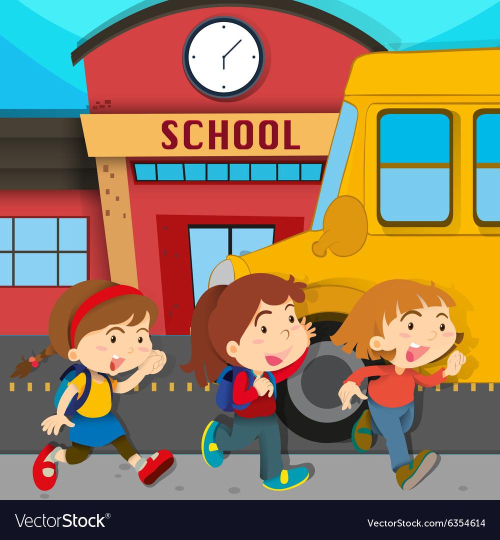 Children running in front school Royalty Free Vector Image