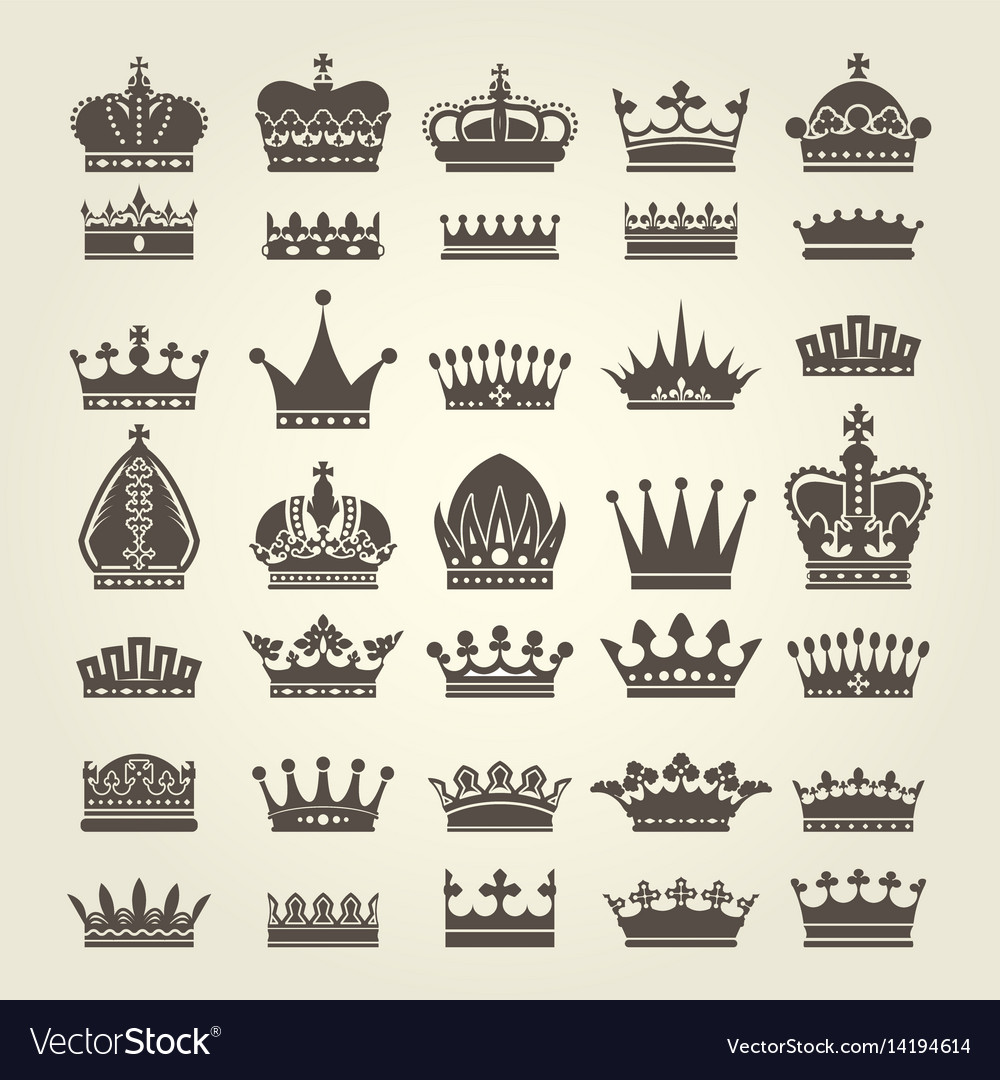 Crown icons set - monarchy authority and royal