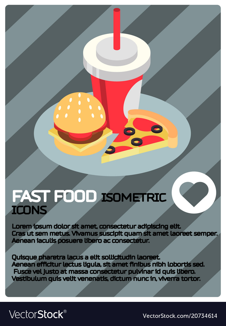 Fast food color isometric poster
