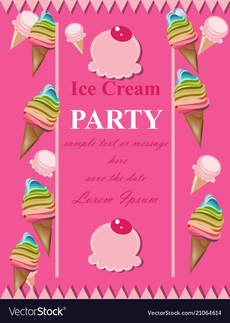 Ice Cream Pink Party Invitation Card Royalty Free Vector