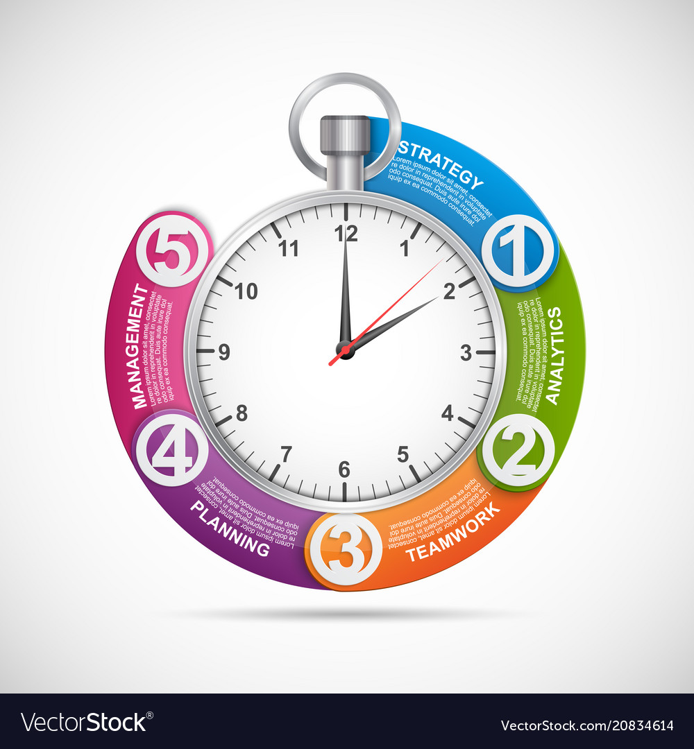 Infographics design template stopwatch with a