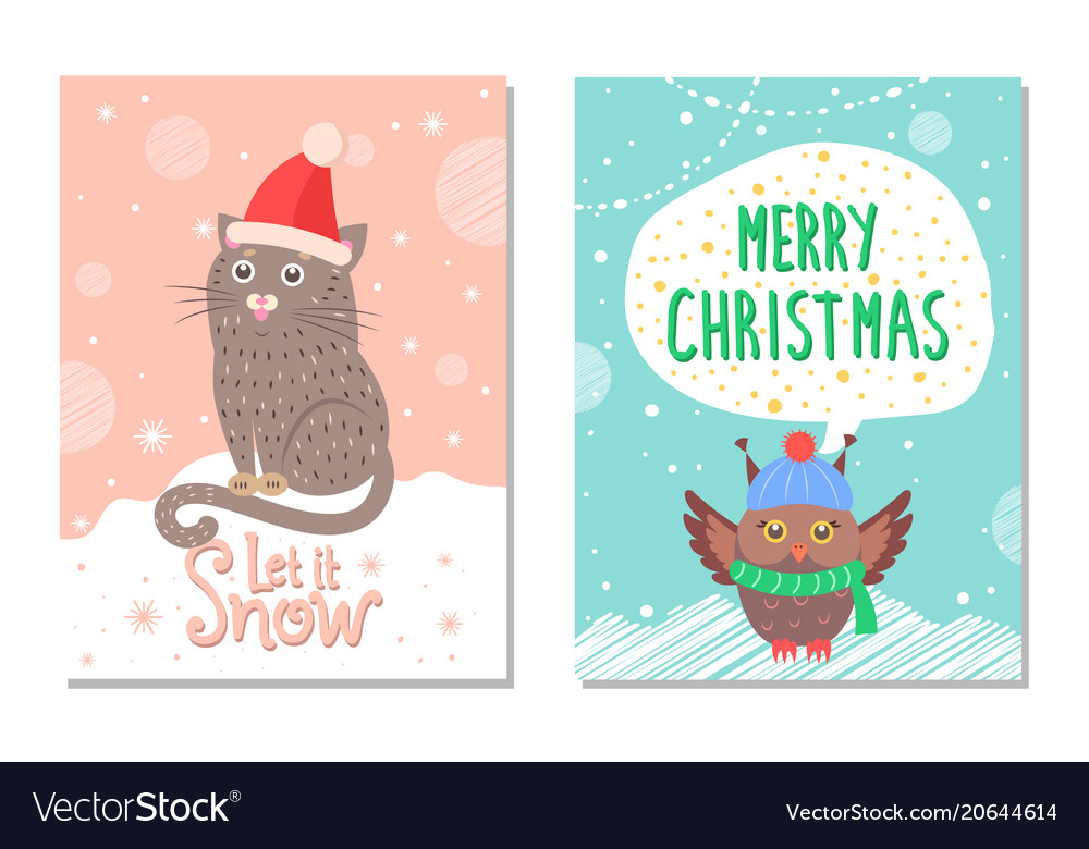Let it snow merry christmas colorful 60s postcard