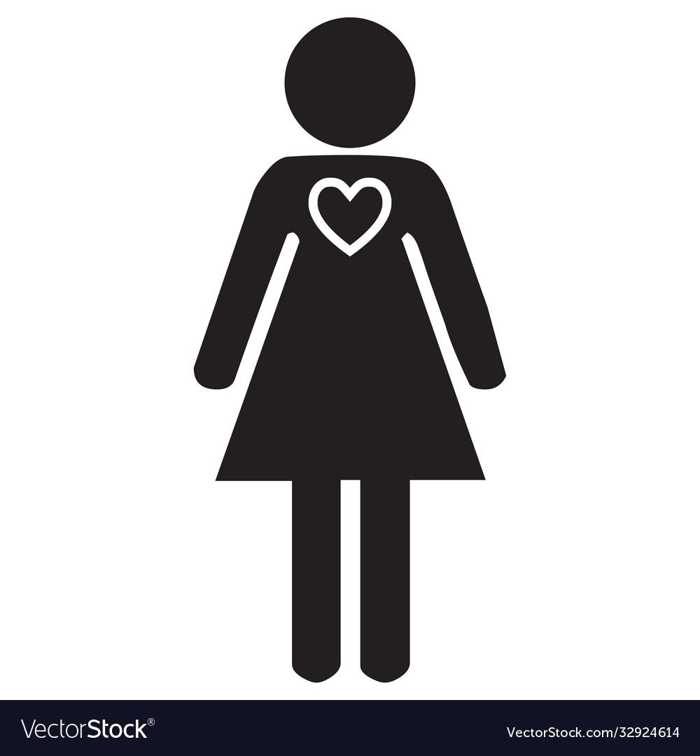 Love heart shape woman face