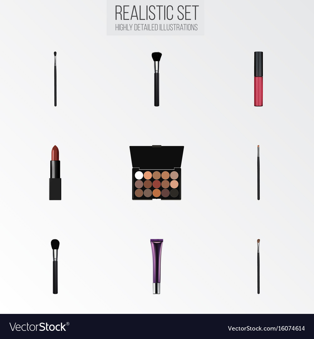 Realistic make-up product contour style kit day vector image