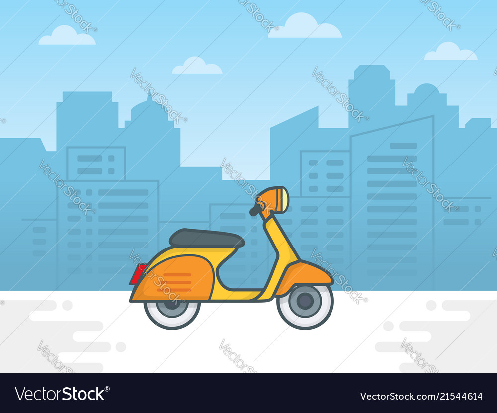 Scooter motorcycle on city background