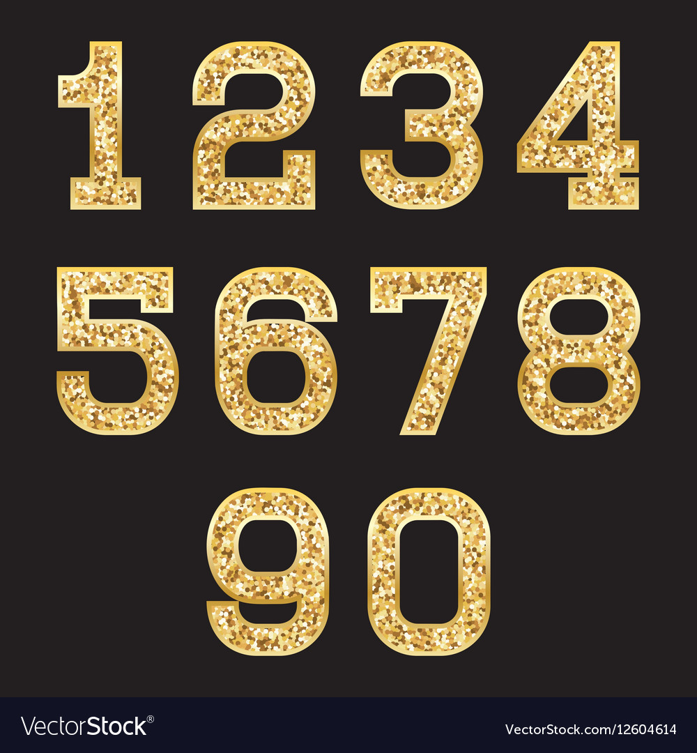 Set of stylized gold texture numbers with metallic