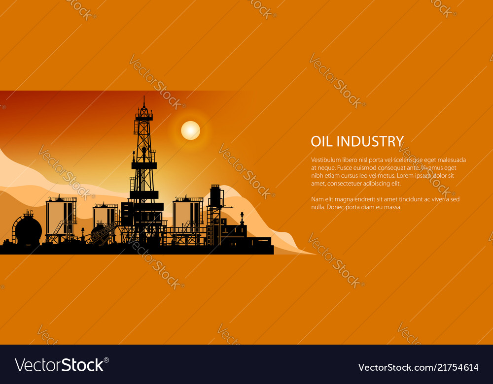 Silhouette drilling rigs banner