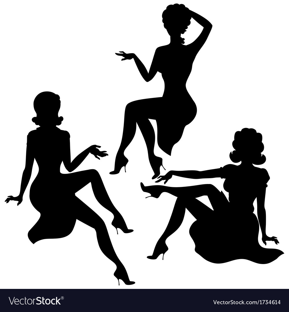 Silhouettes of beautiful pin up girls 1950s style