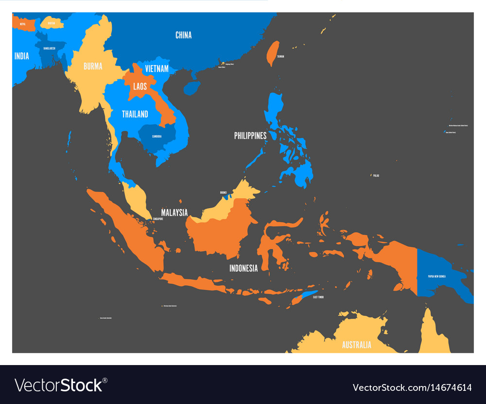 South east asia political map in four colors with