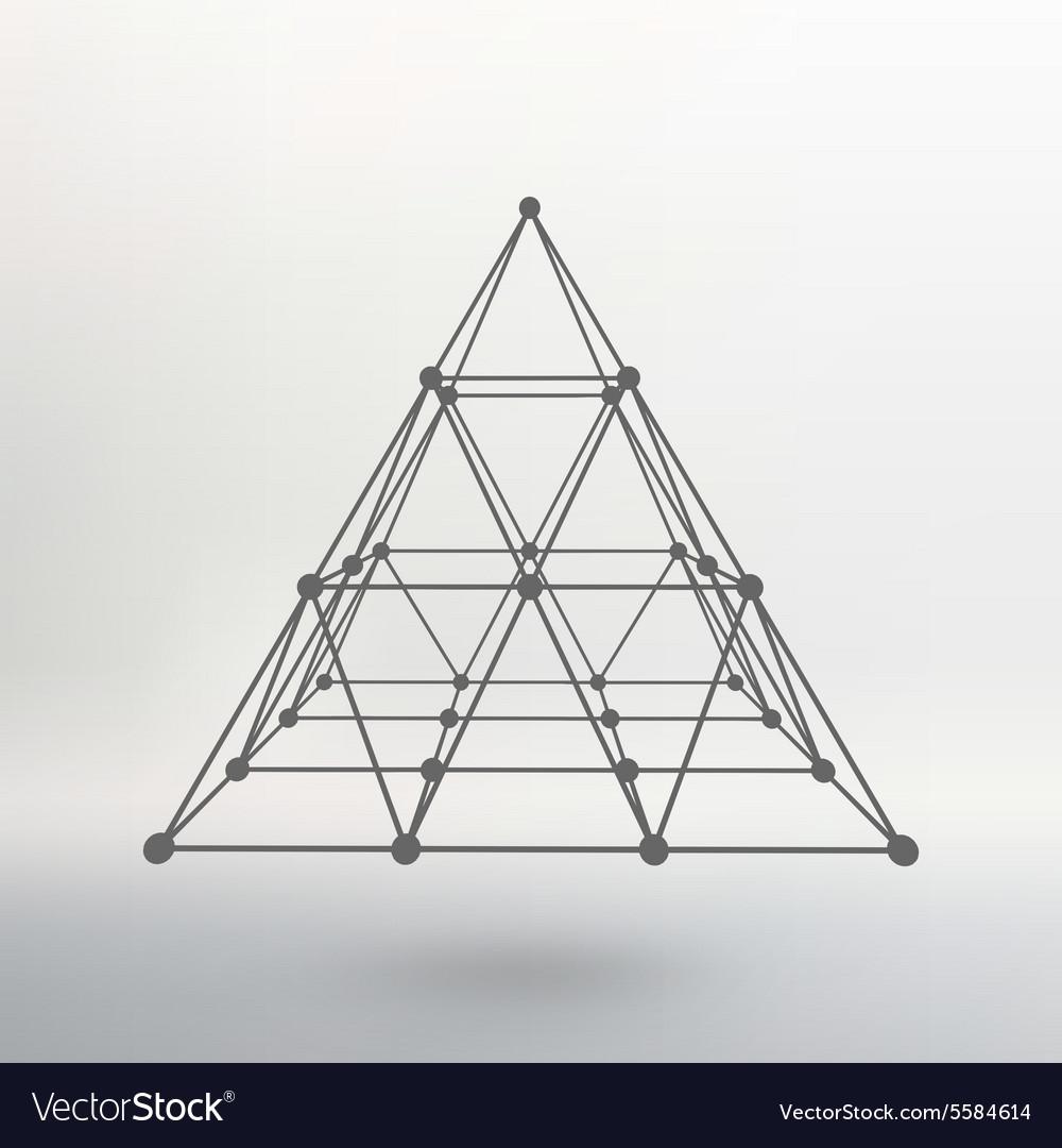 Wireframe mesh Polygonal pyramid Pyramid of the