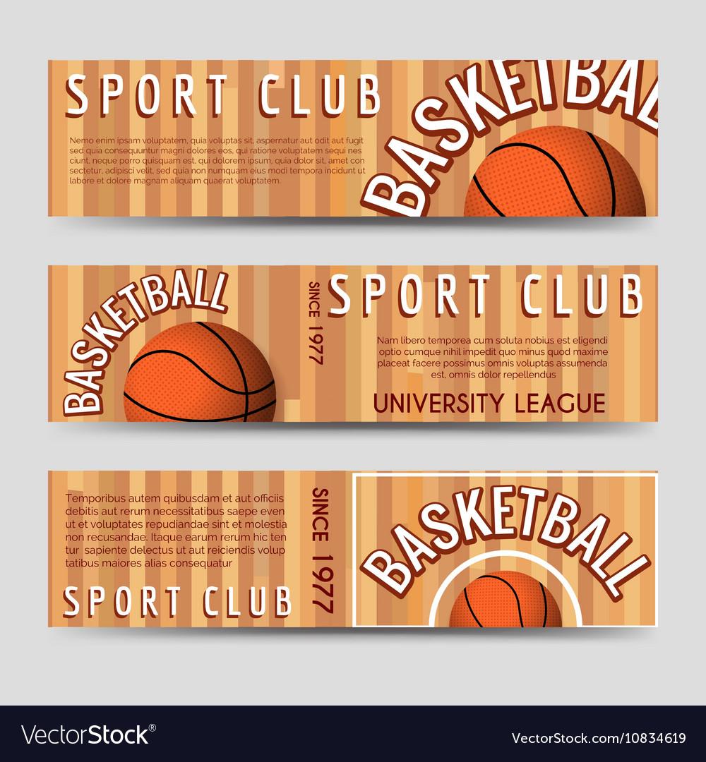 Basketball sport club horizontal banners template vector image