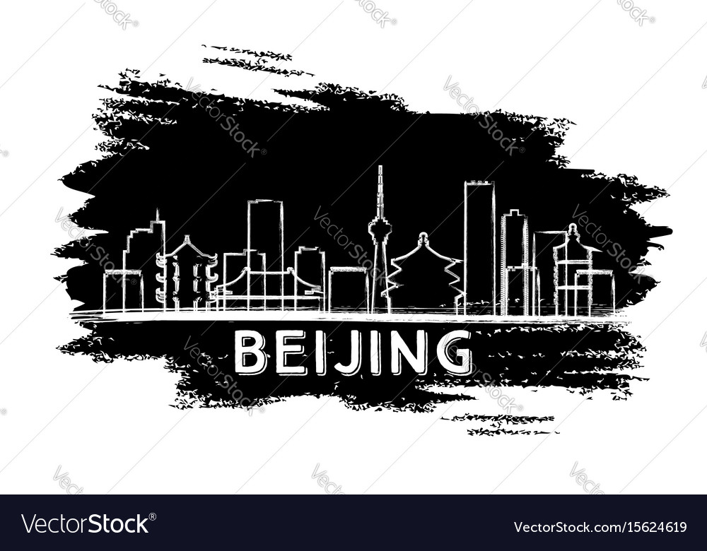 Beijing skyline silhouette hand drawn sketch vector image