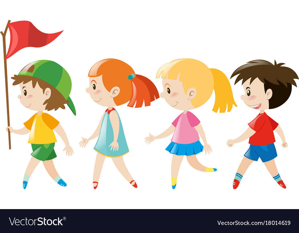 Children walking in line Royalty Free Vector Image