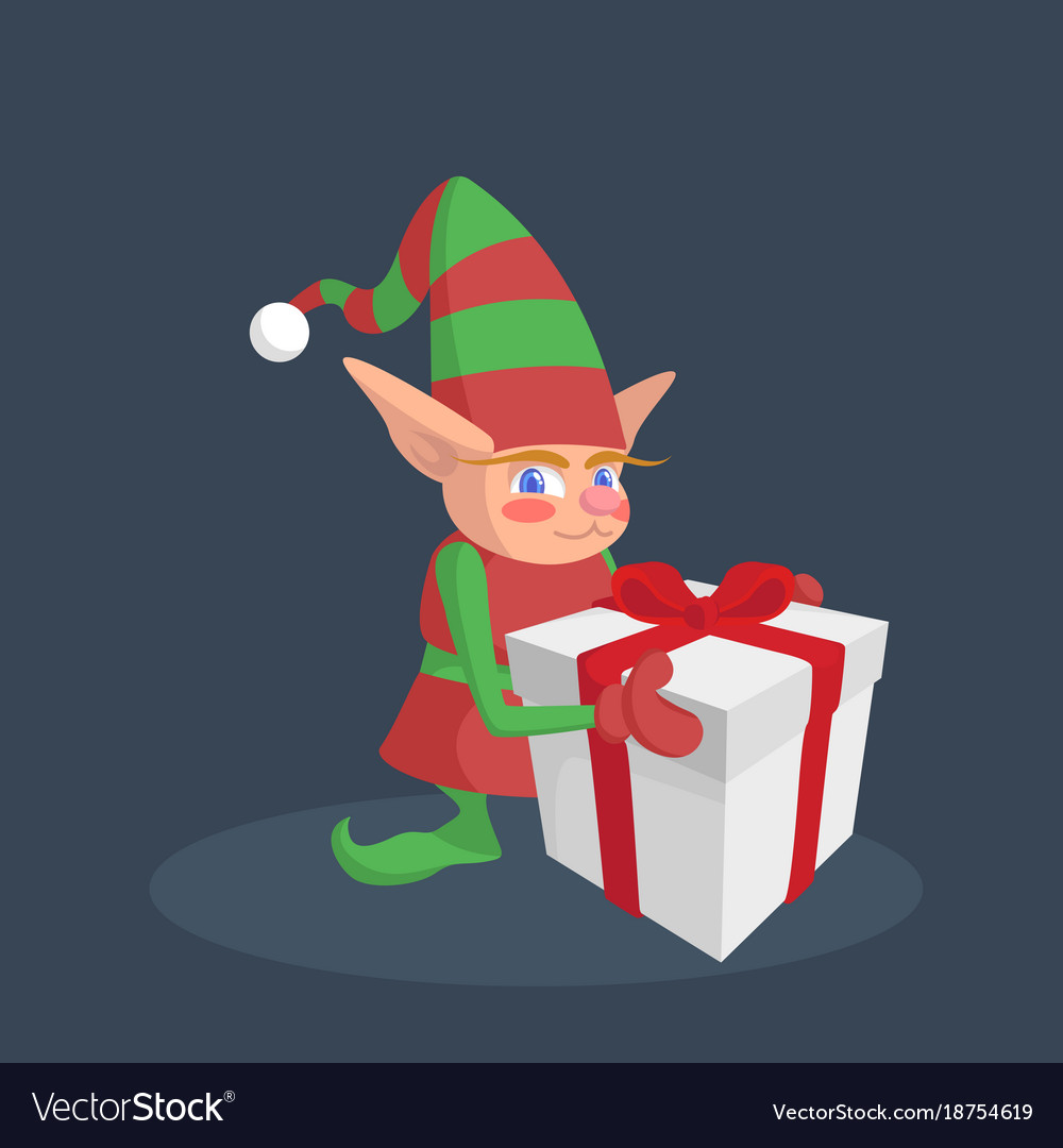 Christmas elf holding a gift with a red ribbon