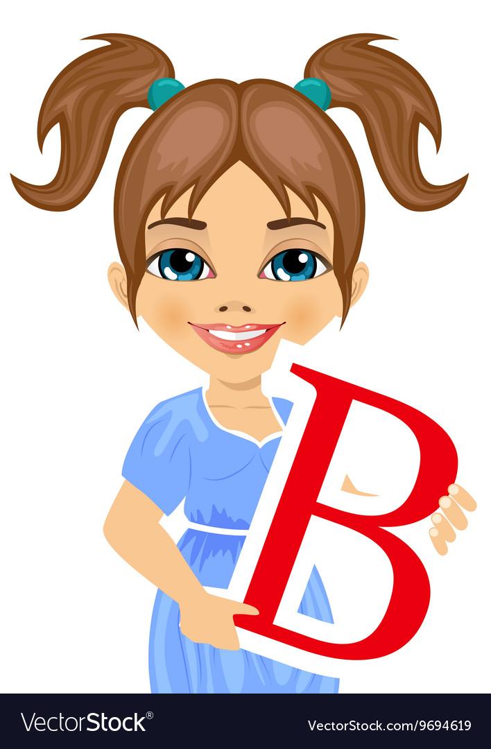Cute little girl holding the b letter