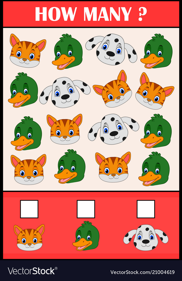 Education counting game of animals for preschool
