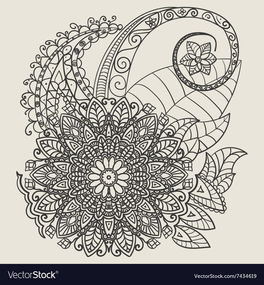 Ethnic mehndi tattoo doodle henna paisley flowers