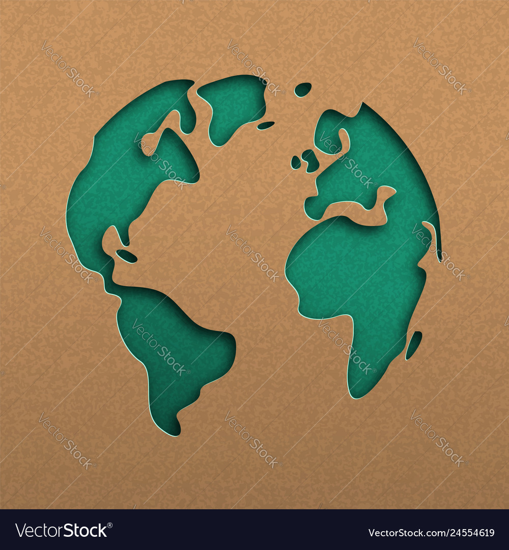 Green papercut world map on recycled paper