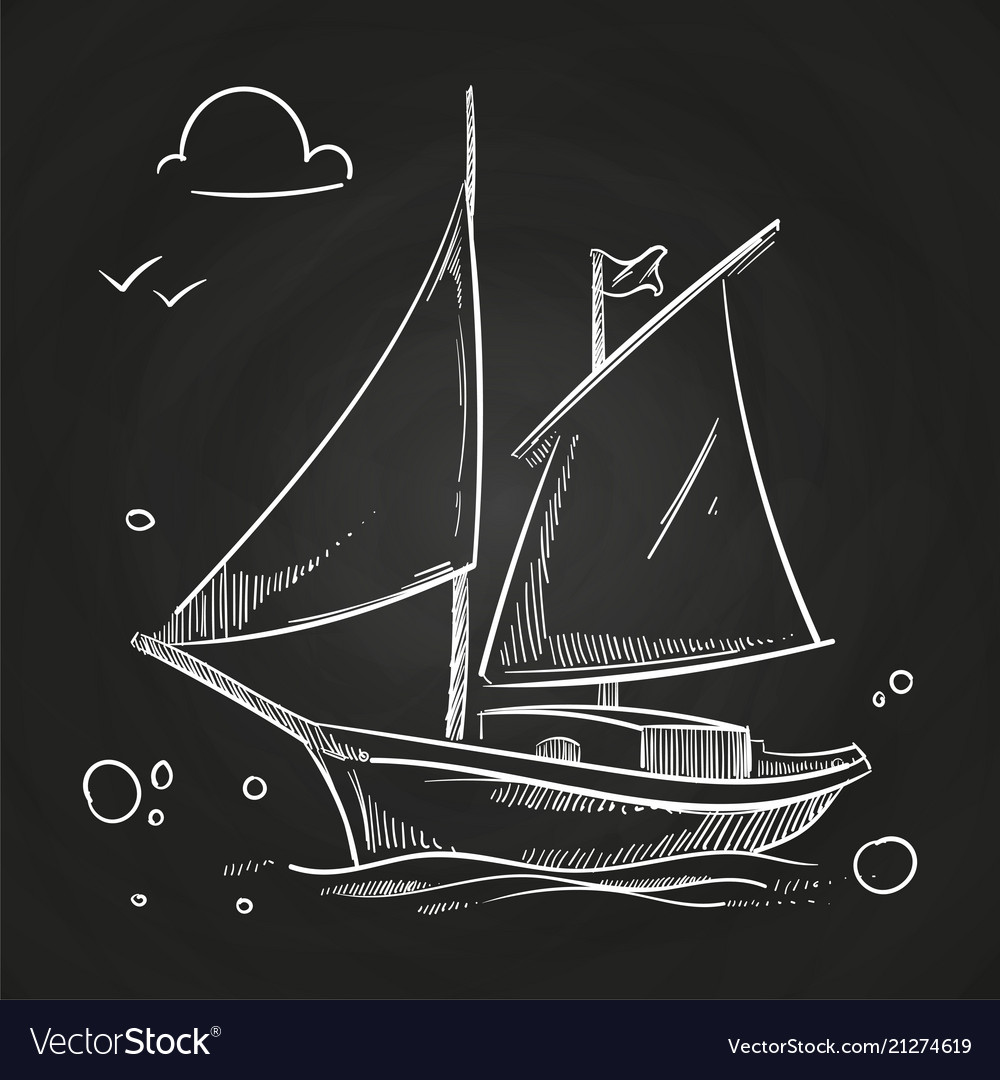 Hand sketched boat on blackboard white