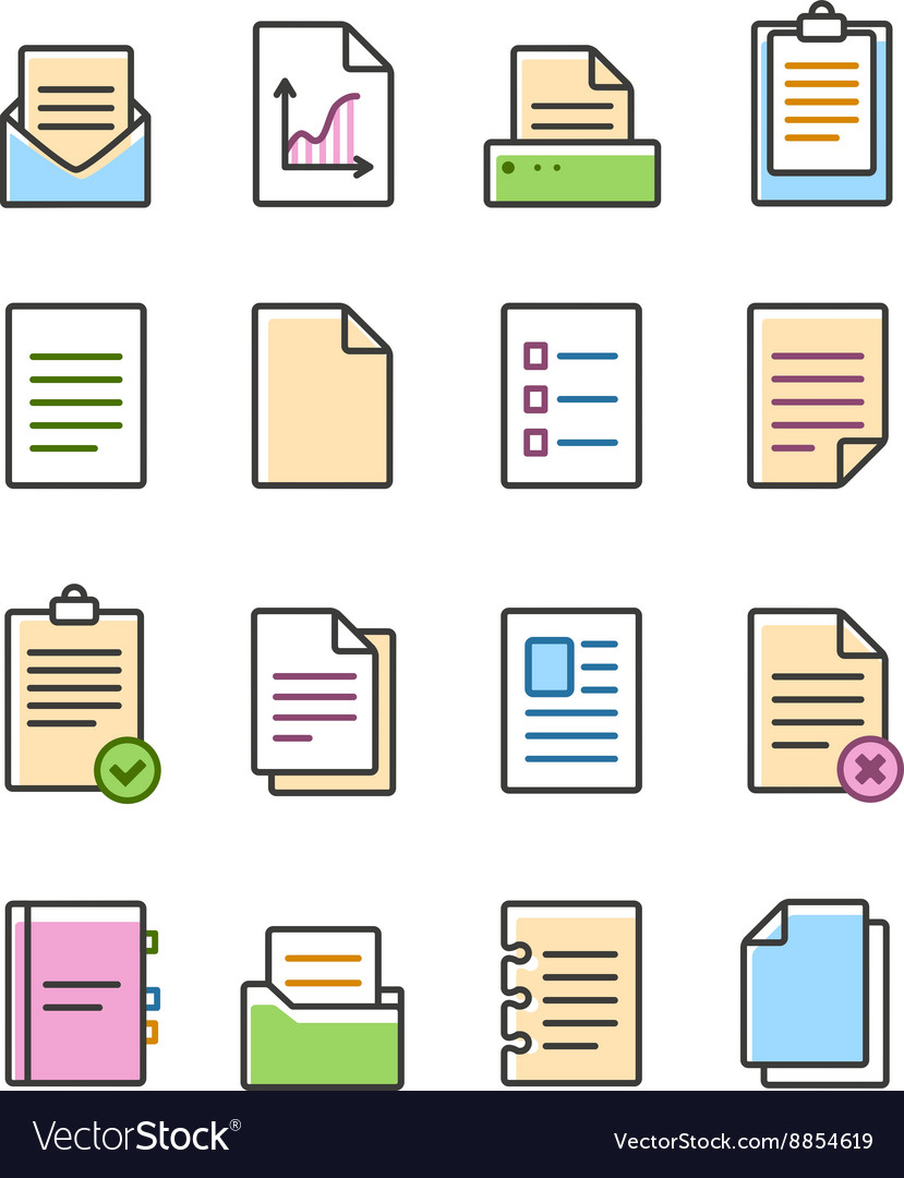 Linear document icons set isolated on white