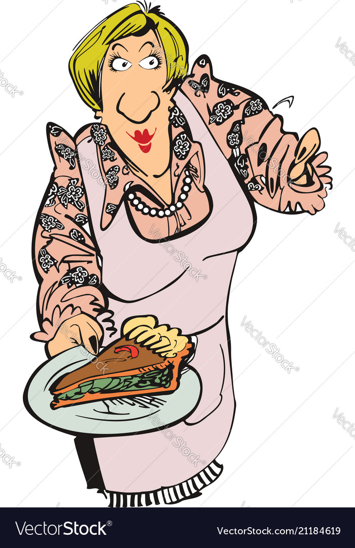 Mother cooking pizza cartoon character