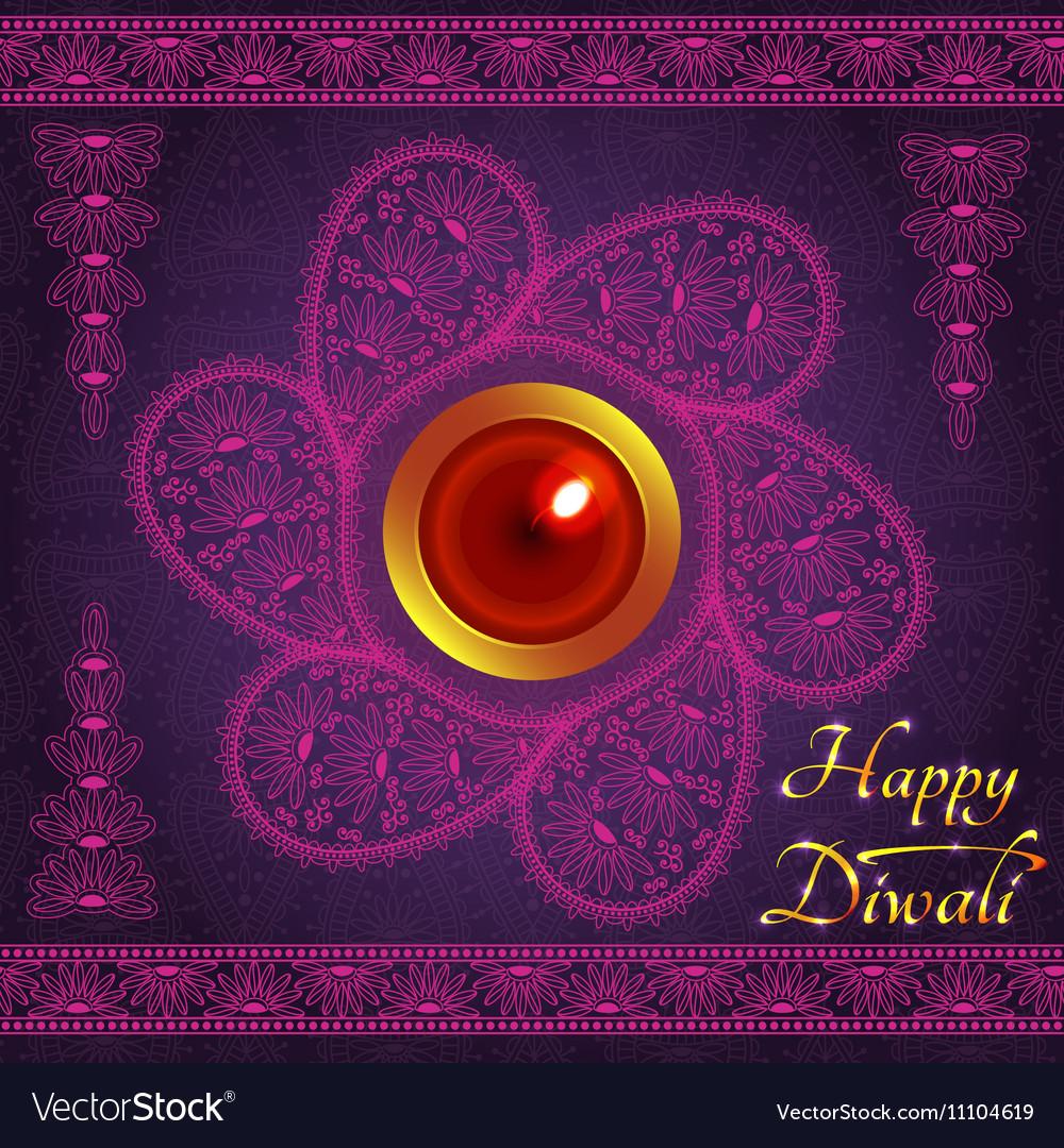 Purple color card design for Diwali festival