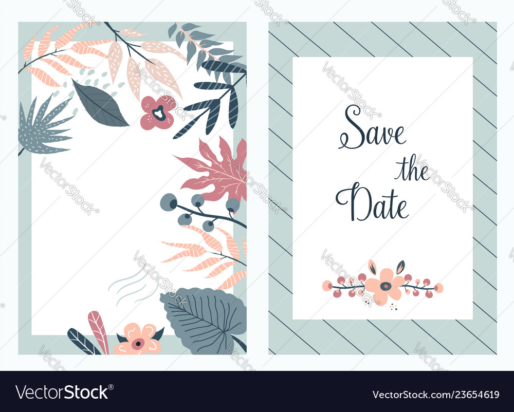 Save the date banners invitations with foliage