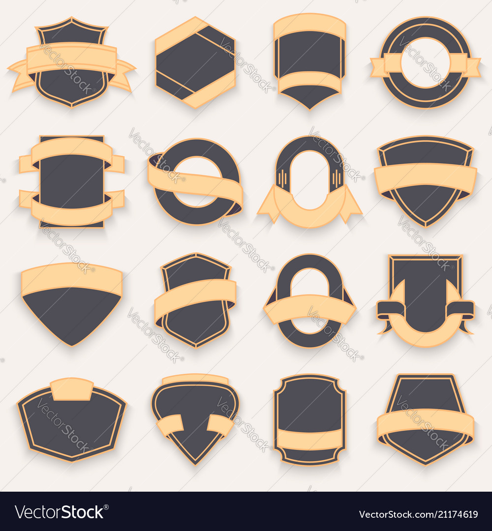 Set of blank empty dark shields shield badge