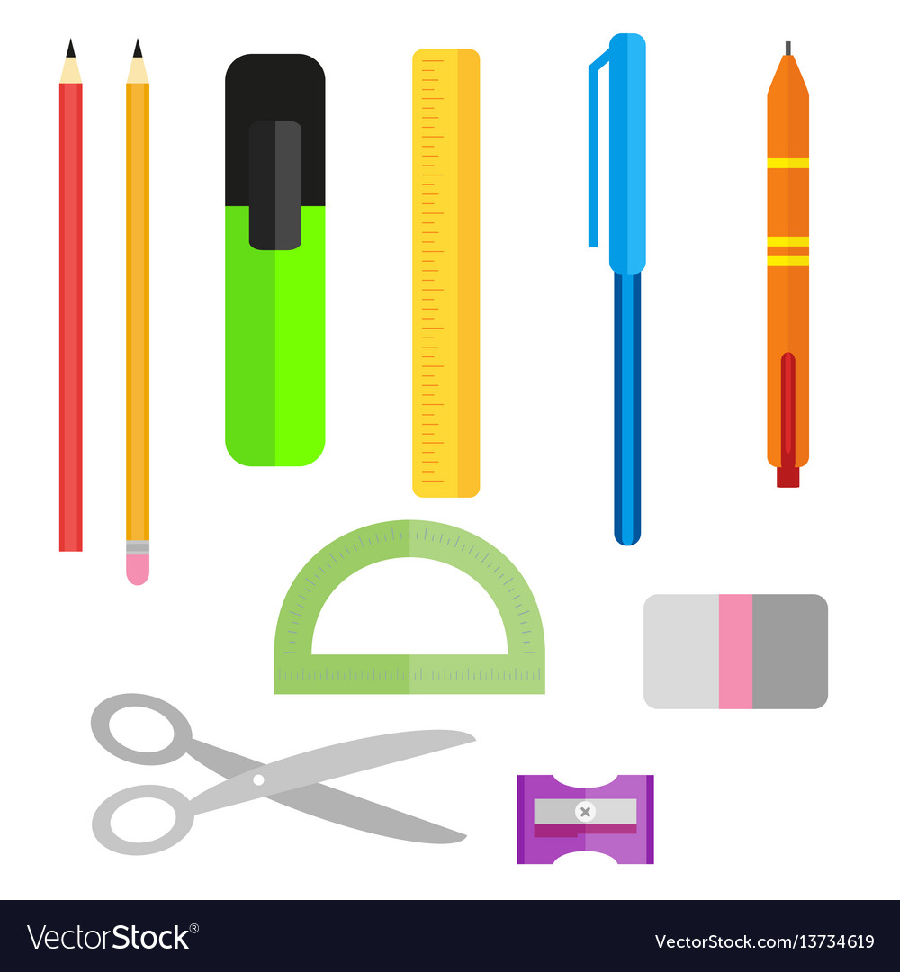 Set of school supplies pens pencils scissors and vector image