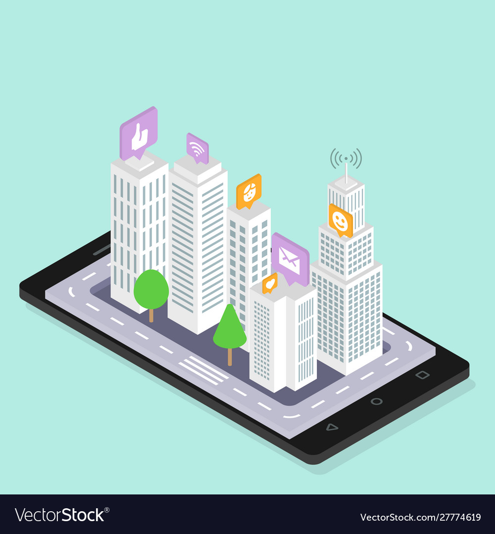 Social media smart city isometric urban modern