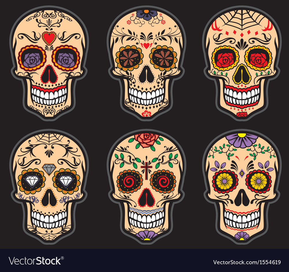 Sugar skull day of the dead set vector image