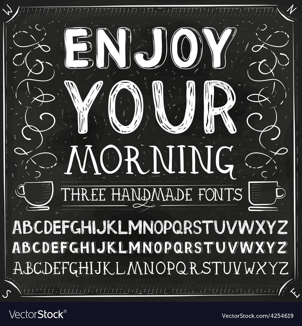 Three Hand Drawn Fonts Chalkboard Alphabet