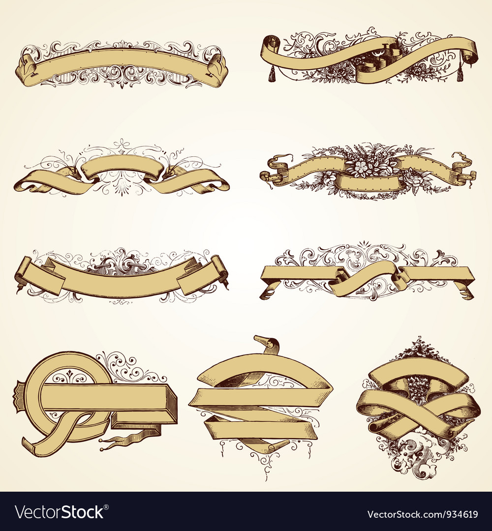 Vintage banner decorative set vector image