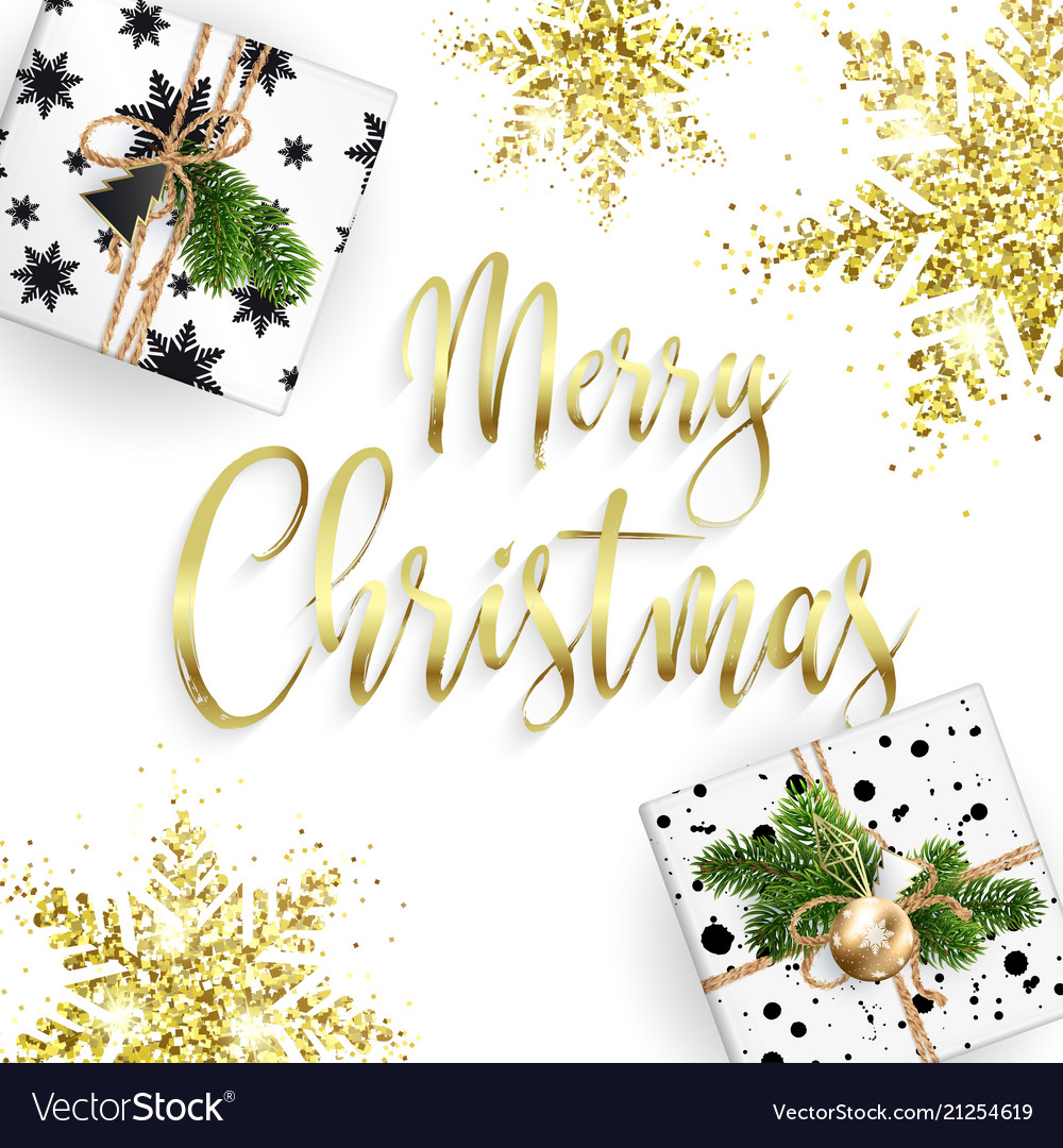 Xmas card congratulations golden lettering