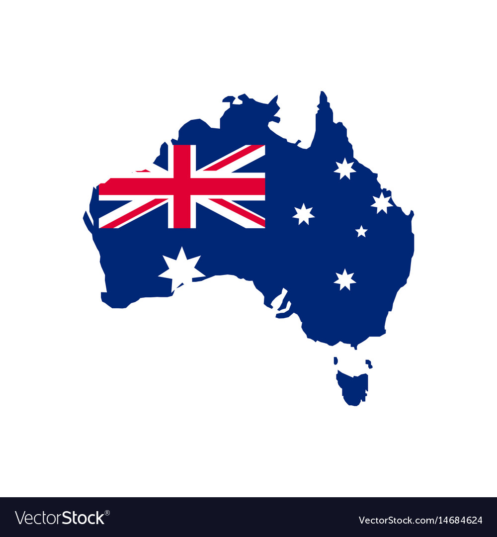 Australia Map With Flag.Australia Map And Flag