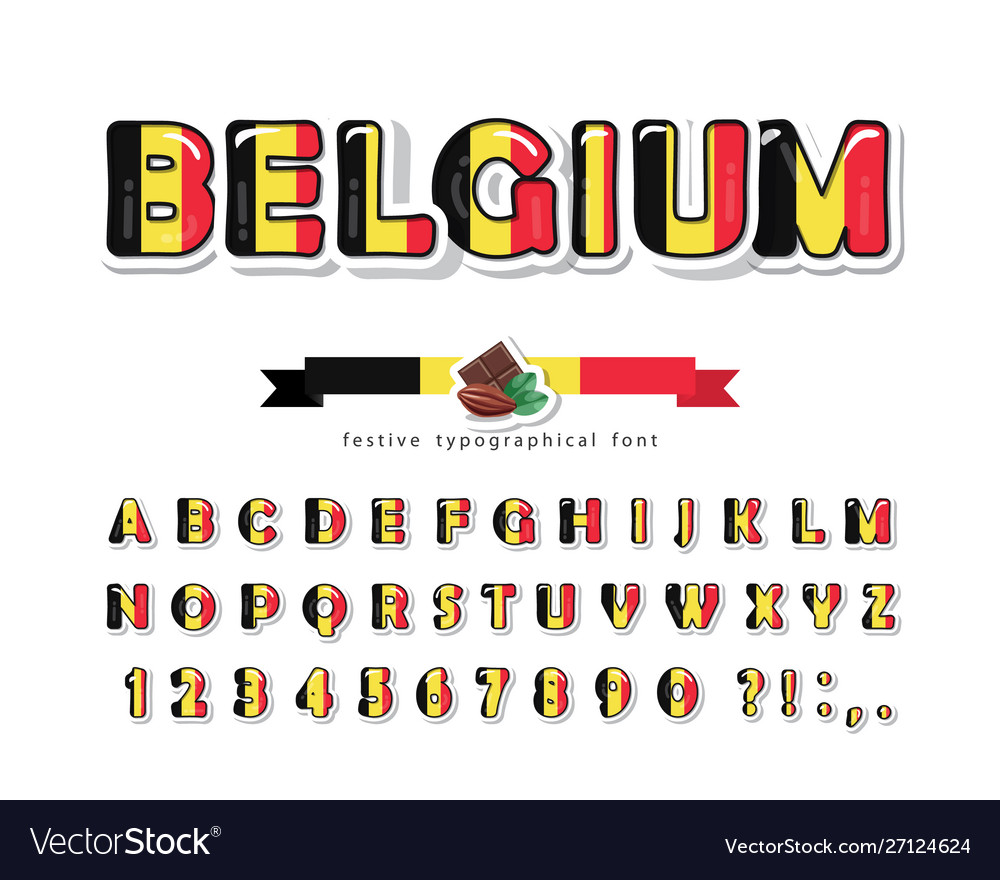 Belgium cartoon font belgian national flag colors