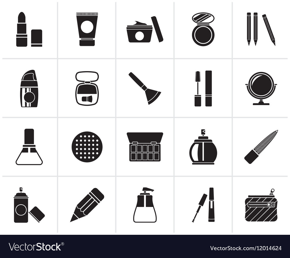 Black Make-up and cosmetics icons vector image
