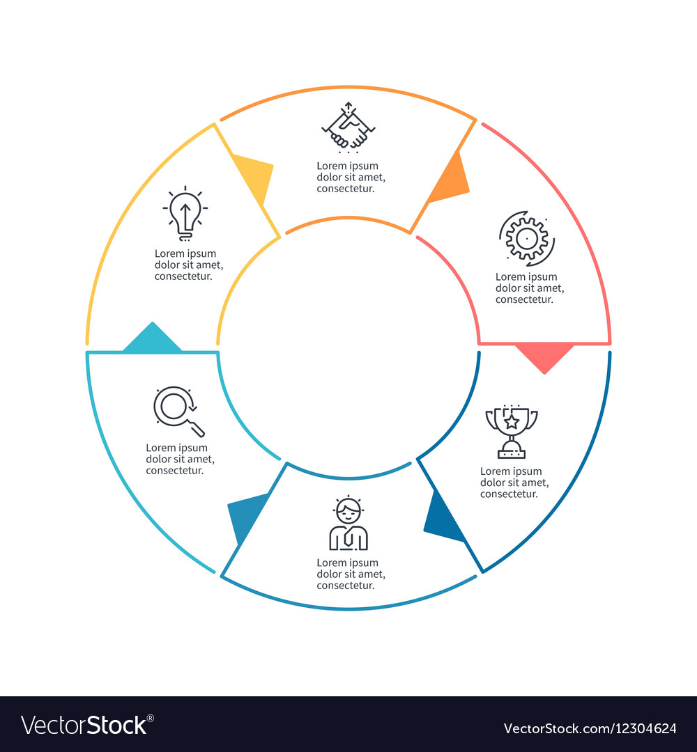 Circular chart diagram with 6 steps options