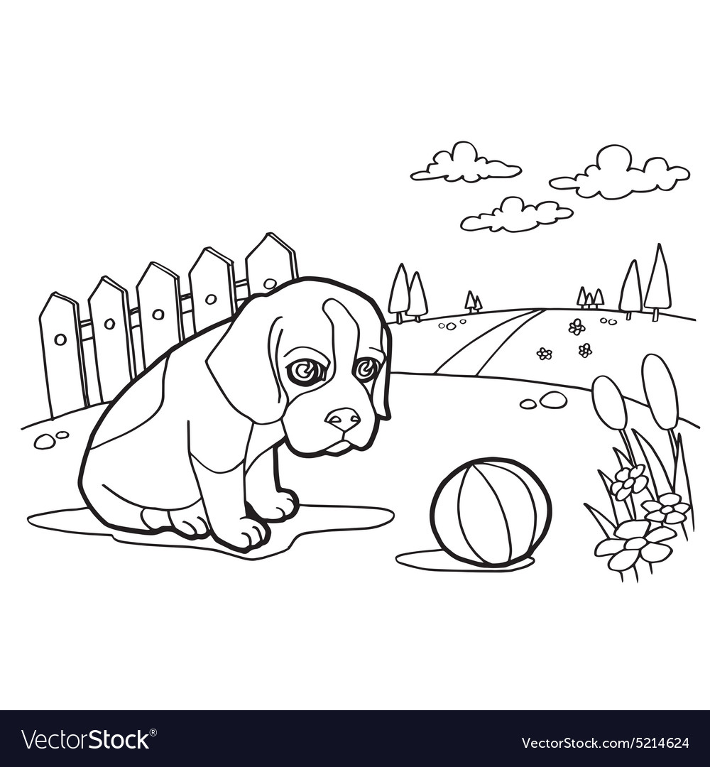 Coloring book with dog and landscape