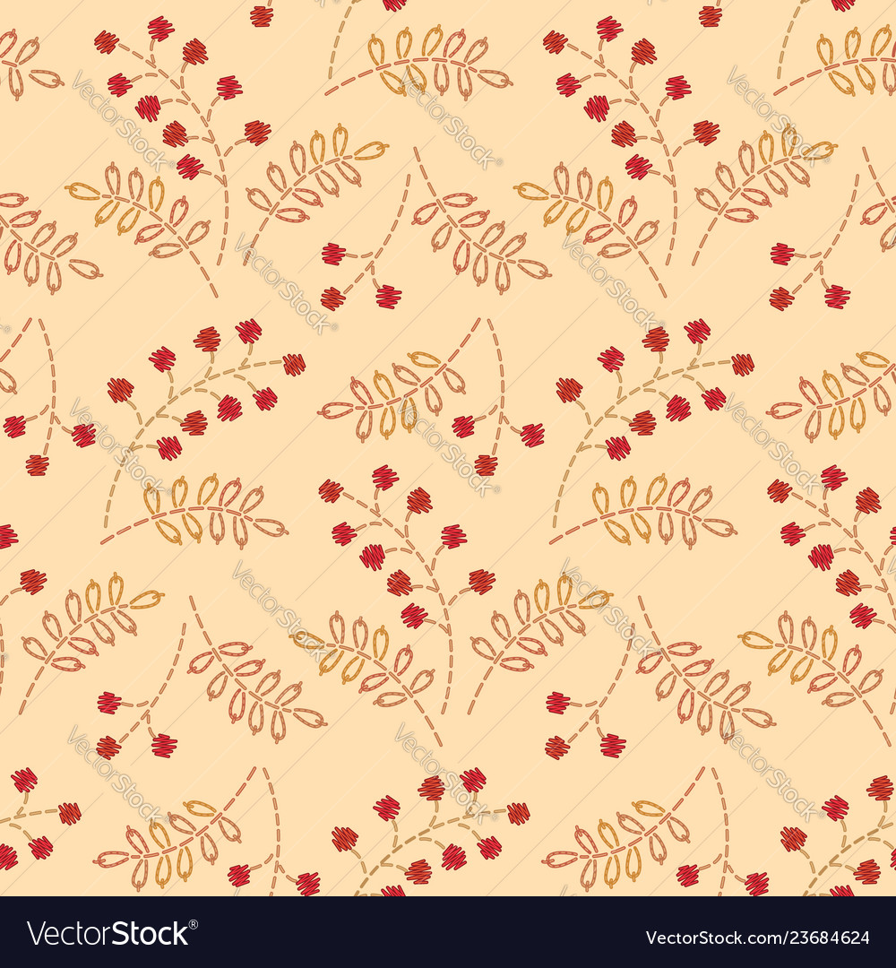 Embroidered berries pattern