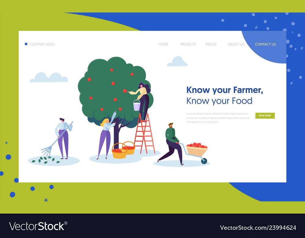 Garden farm landscape farmer concept landing page