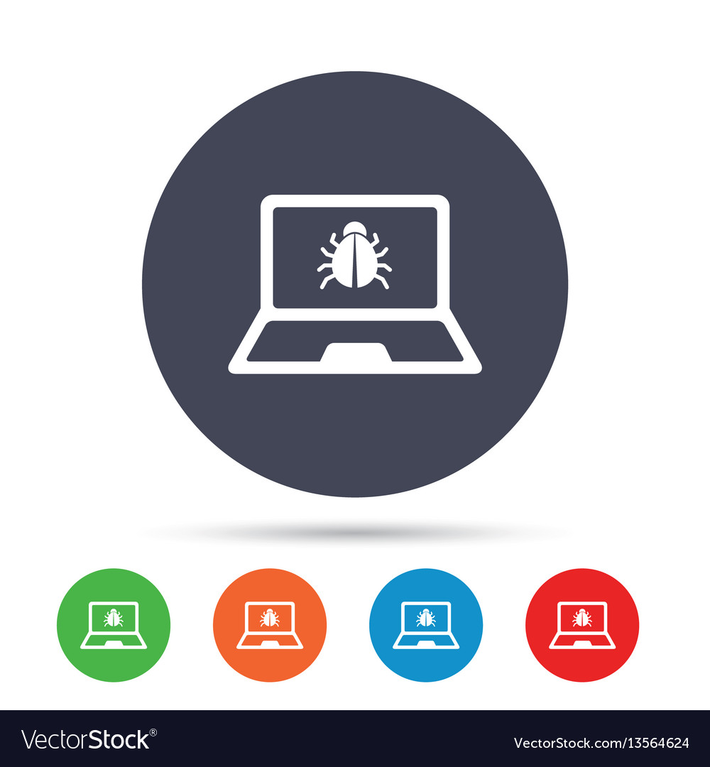 Laptop virus sign icon notebook software bug
