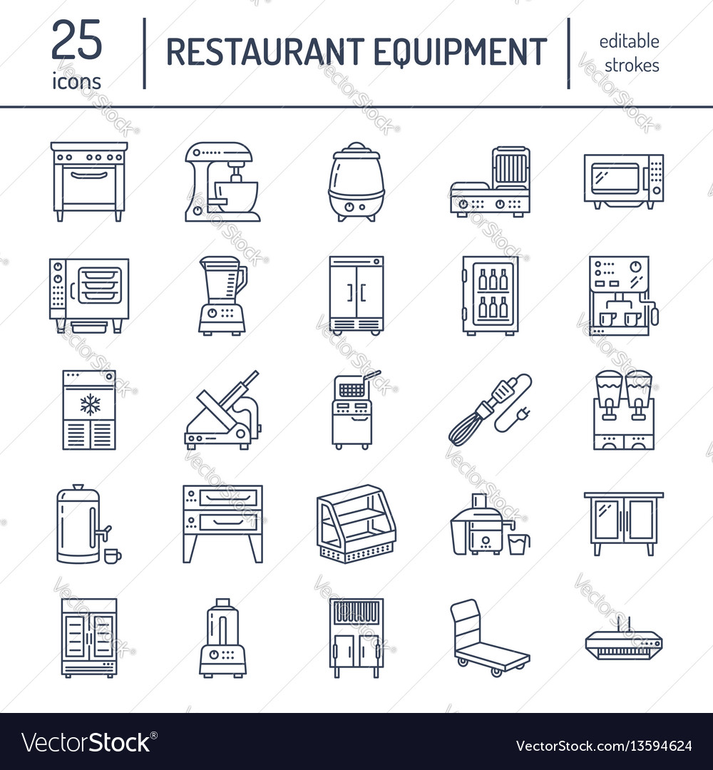 Restaurant professional equipment line icons